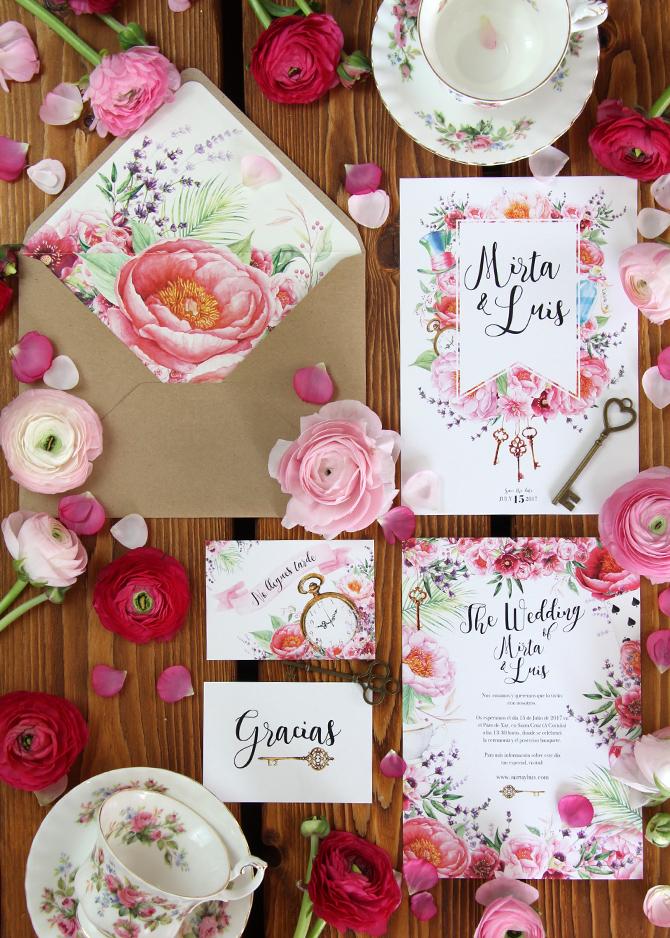 Invitación de boda Alicia en el País de las Maravillas