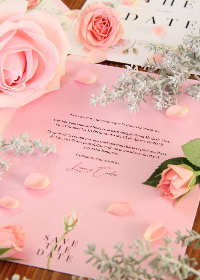 Invitación de boda Shabby Chic rosa