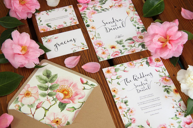 Invitaciones de boda rosas silvestres